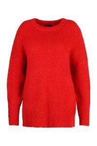 Womens Plus Oversized Knit Boyfriend Jumper - red - 24-26, Red