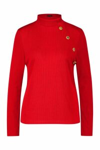 Womens Plus Gold Button Rib High Neck Jumper - Red - 20, Red