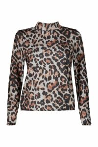Womens Petite Leopard Print roll/polo neck Top - beige - 10, Beige