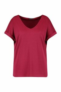 Womens Plus Basic Rib Oversized T-Shirt - Red - 24, Red