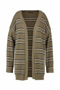 Womens Plus Stripe Chunky Oversized Cardigan - green - 20-22, Green