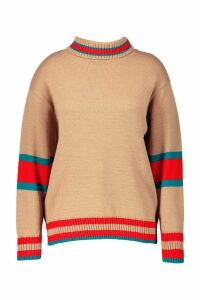 Womens Plus Roll Neck Stripe Detail Jumper - beige - 26, Beige