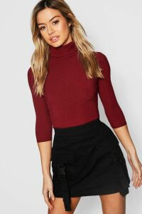 Womens Petite Rib roll/polo neck 3/4 Sleeve Top - red - 6, Red