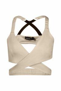 Womens Petite Fit Premium Plunge Wrap Bra - Beige - 14, Beige