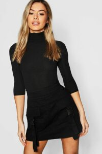 Womens Petite Rib roll/polo neck 3/4 Sleeve Top - black - 10, Black