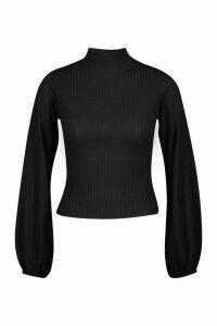Womens Petite roll/polo neck Volume Sleeve Rib Top - black - 14, Black