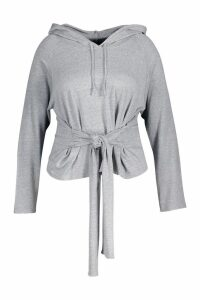 Womens Plus Tie Front Hoody - grey - 22, Grey