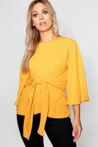 Womens Plus Kimono Sleeve Tie Waist Top - yellow - 16, Yellow