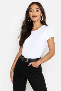 Womens Petite Rib Crew Neck T-Shirt - White - 4, White