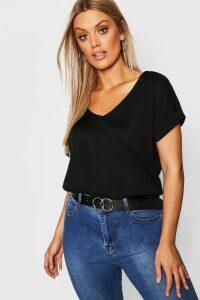 Womens Plus Basic Rib Oversized T-Shirt - black - 26, Black