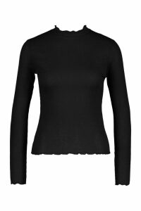 Womens Petite Lettuce Hem roll/polo neck Top - black - 14, Black