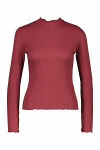 Womens Petite Lettuce Hem roll/polo neck Top - red - 14, Red