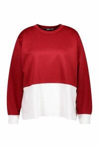 Womens Plus Colour Block Oversized jumper - red - 24, Red