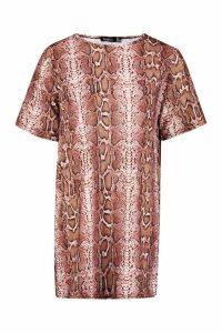 Womens Petite Snake Print Oversized T-Shirt Dress - Pink - 6, Pink