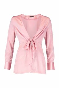 Womens Petite Satin Tie Front Blouse - pink - 4, Pink