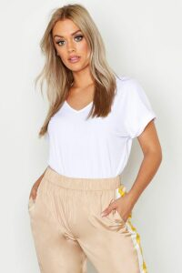 Womens Plus Basic Rib Oversized T-Shirt - white - 20, White