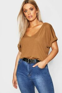 Womens Plus Basic Rib Oversized T-Shirt - Tan - 20, Tan