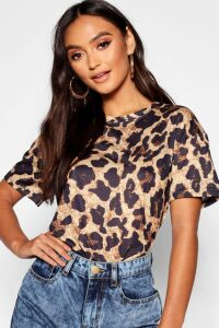 Womens Petite Leopard Print T-Shirt - Brown - 14, Brown