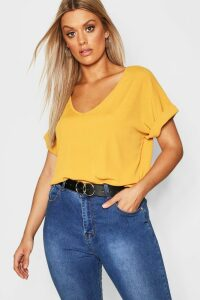 Womens Plus Basic Rib Oversized T-Shirt - yellow - 20, Yellow
