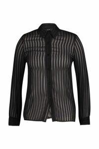 Womens Plus Burn Out Stripe Shirt - Black - 20, Black