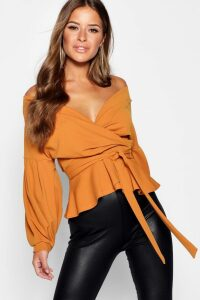 Womens Petite Off The Shoulder Blouse - yellow - 14, Yellow