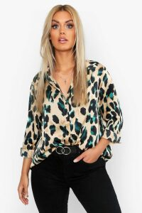 Womens Plus Satin Leopard Shirt - black - 16, Black