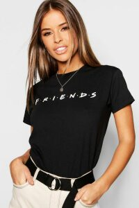 Womens Petite Friends Licensed T-Shirt - black - M, Black