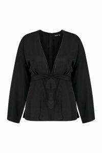 Womens Plus Plunge Kimono Sleeve Top - black - 20, Black