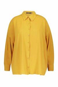Womens Plus Oversized Woven Utility Shirt - yellow - 18, Yellow
