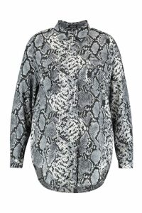 Womens Plus Snake Print Utility Shirt - grey - 20, Grey