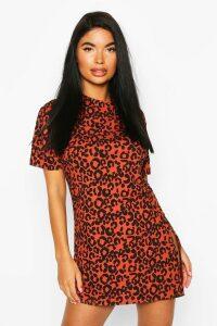 Womens Petite Rib Animal Print T-Shirt Dress - Orange - 4, Orange