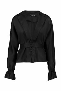 Womens Petite Button Front Plunge Blouse - black - 8, Black