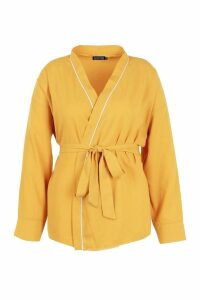 Womens Plus Wrap Tie Waist Blouse - yellow - 18, Yellow