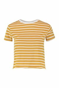 Womens Petite Stripe Raw Hem Cropped T-Shirt - yellow - 12, Yellow