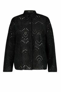 Womens Plus Broidere Oversized Shirt - black - 18, Black