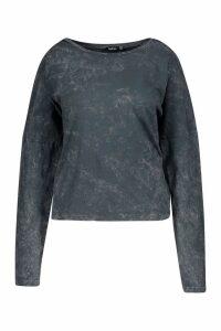 Womens Plus Acid Long Sleeve T-Shirt - Black - 16, Black