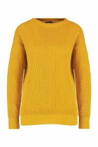 Womens Petite Ivy Oversized Jumper - yellow - 14, Yellow