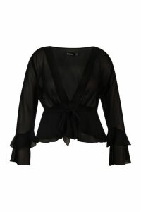 Womens Plus Plunge Knot Wrap Blouse - black - 22, Black