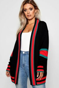 Womens Plus Contrast Stripe Oversized Cardigan - Black - 24, Black