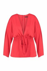 Womens Plus Plunge Kimono Sleeve Top - red - 20, Red