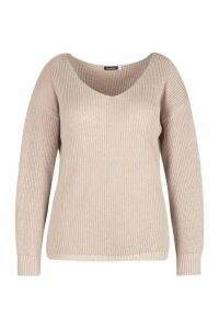 Womens Plus Oversized V Neck Jumper - Beige - 24, Beige