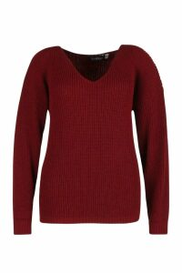 Womens Plus Oversized V Neck Jumper - red - 24, Red