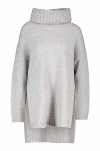 Womens Premium Roll Neck Oversized Jumper - grey - M/L, Grey
