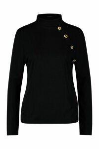 Womens Plus Gold Button Rib High Neck Jumper - black - 24, Black