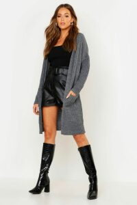 Womens Oversized Boyfriend Cardigan - grey - S/M, Grey