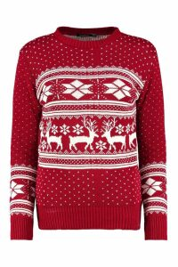 Womens Fairisle Snowflake Reindeer Christmas Jumper - red - M/L, Red