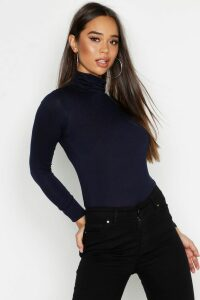 Womens Basic roll/polo neck Long Sleeve Top - navy - 8, Navy