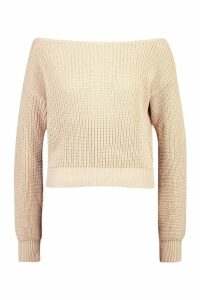 Womens Slash Neck Crop Fisherman Jumper - beige - M/L, Beige