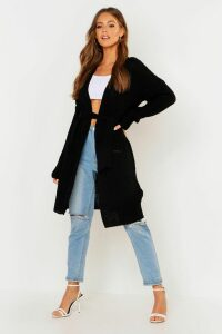Womens Belted Oversized Boyfriend Cardigan - black - S/M, Black