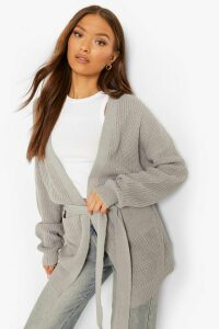 Womens Belted Oversized Boyfriend Cardigan - grey - M/L, Grey